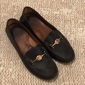 Coach Arlene Black Leather Loafers Driving Shoes